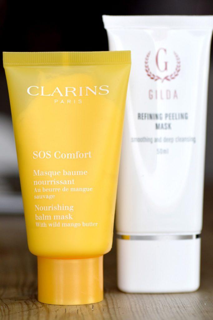 mitt hemliga liv Clarins SOS Comfort Nourishing Balm Mask och Gilda Refining Peeling Mask