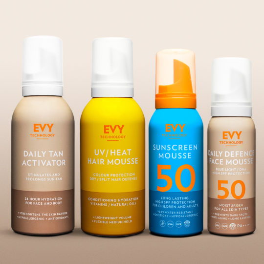 Evy superdeal med Suncreen mouse spf 30, Daily Decence Face mousse, Daily Tan Activator, UV/Heat