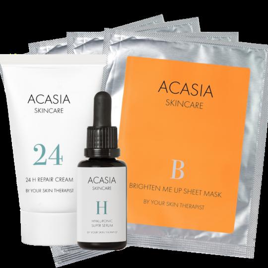 Acasia Skincare 24 H Rrepair Cream + Hyaluronic Super Serum + Brighten Me Up Sheet Mask